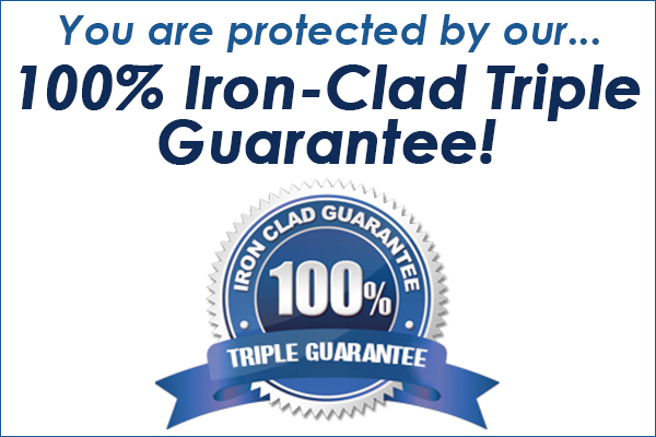 You are protected by our... 100% Iron-Clad triple Guarantee!