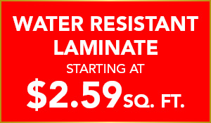Water Resistant Laminate starting at $2.59 sq.ft. during the National Gold Tag Flooring Sale at Abbey Carpet & Floor in Puyallup.
