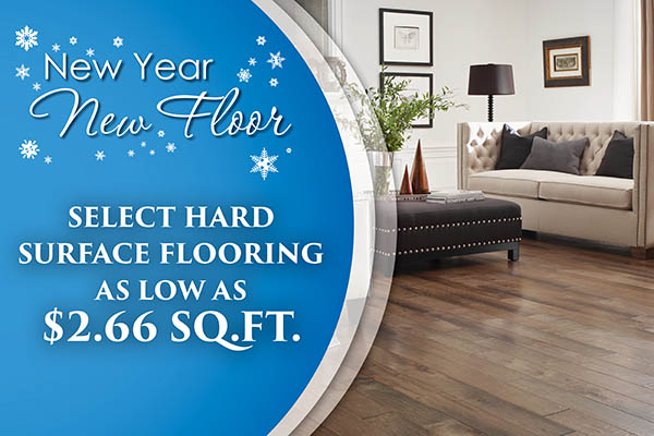 Select hard surface flooring as low as $2.66 sq.ft. during the New Year New Floor sale at Abbey Carpet & Floor in Puyallup!