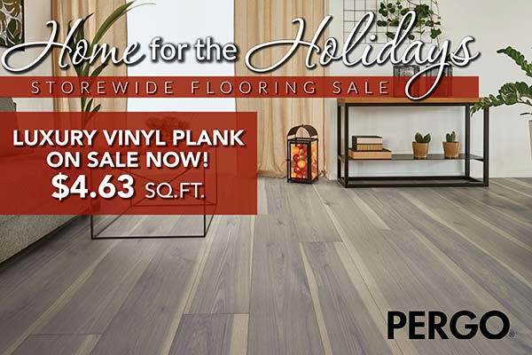 Pergo luxury vinyl plank flooring on sale for $4.63 per square foot during our Home for the Holidays storewide flooring sale